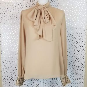 Vince Camuto | Semi Sheer Tie Neck Blouse | Medium